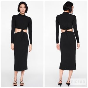 NWT • Zara • Long Dress with Cut Outs and Knots